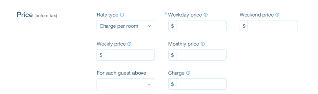how to create a hotel website - room prices