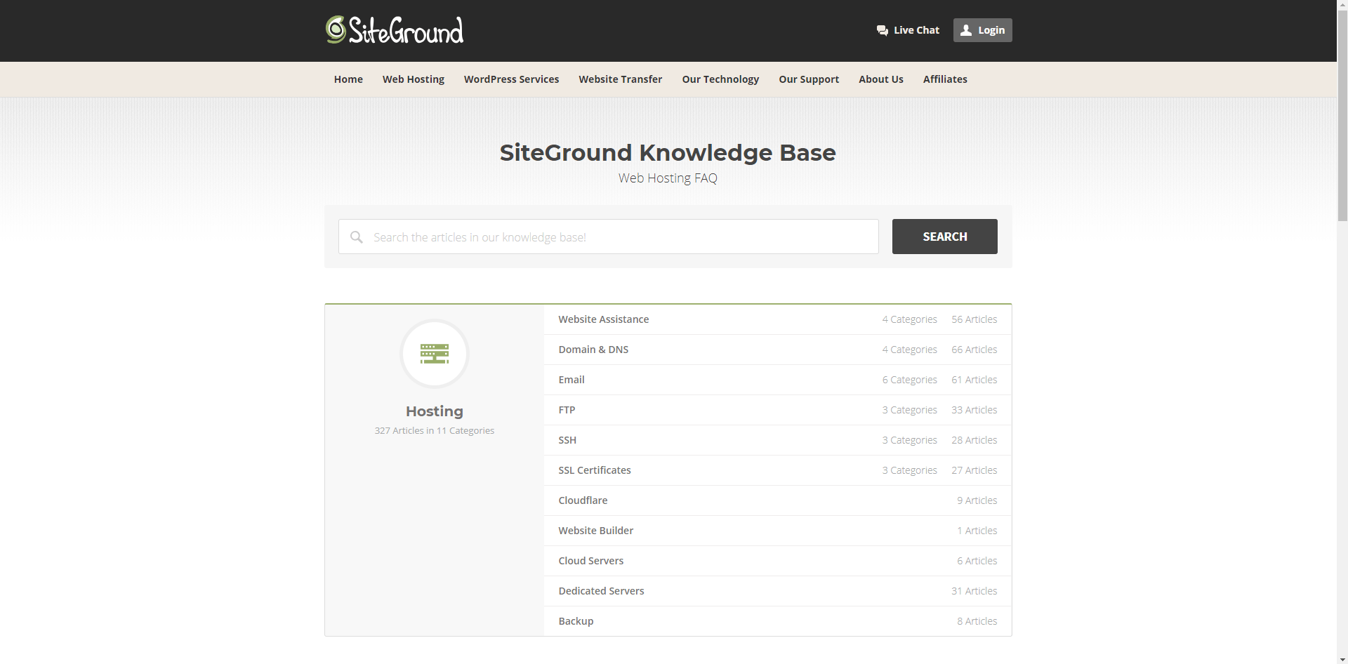 SiteGround review knowledge base