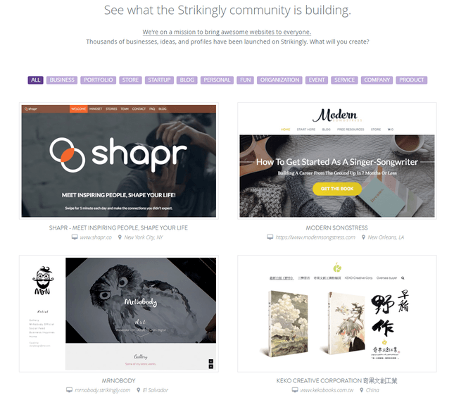 strikingly site examples