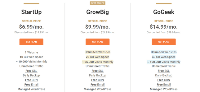 bluehost vs siteground shared pricing plans