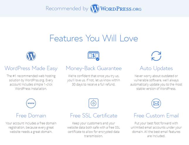 bluehost range of wordpress hosting features