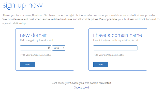 Bluehost domain registration