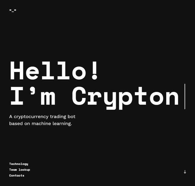 crypton trading's website homepage
