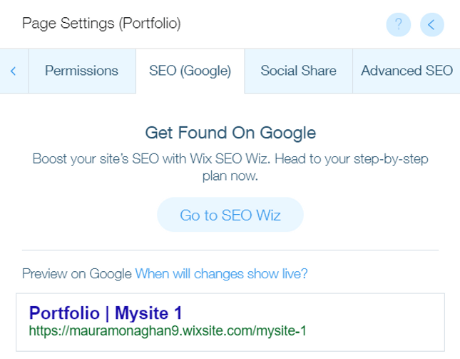 wix seo page settings