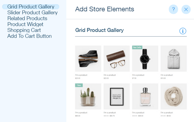 wix online store features