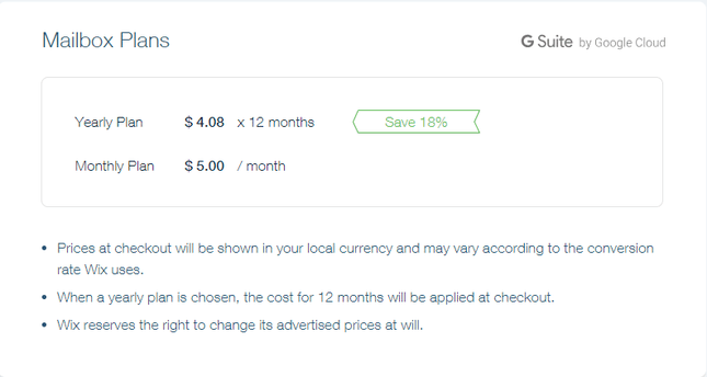 wix pricing mailbox plans
