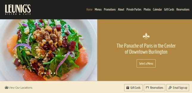 flavorplate restaurant website example