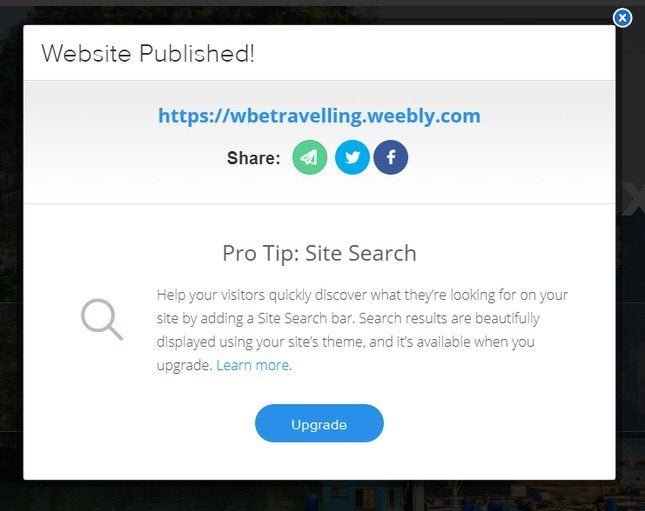 weebly publishing popup