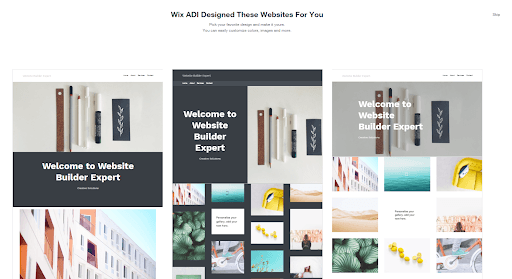 wix adi homepage suggestions