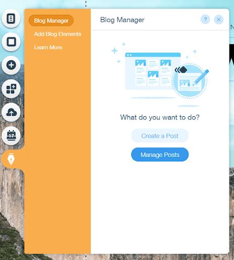 wix blog menu