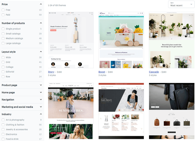 1f7e19487 Shopify has over 60 themes in total, covering a variety of industries. It's  easy to filter these themes using the categories provided, from layout  style to ...