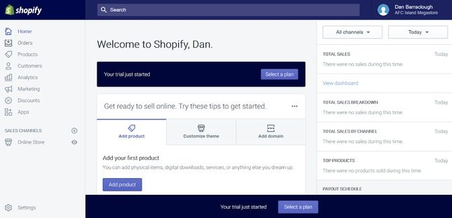 shopify admin page add products