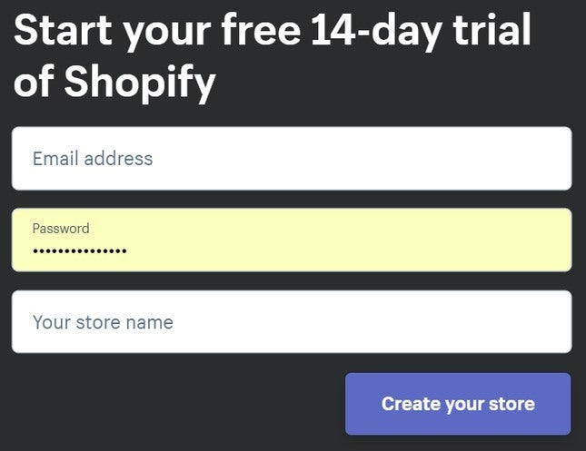 shopify store details fields