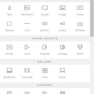 squarespace content block menu