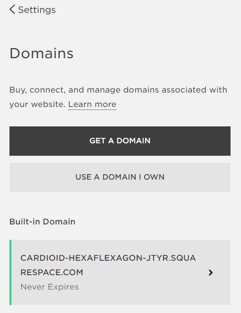 squarespace domain menu