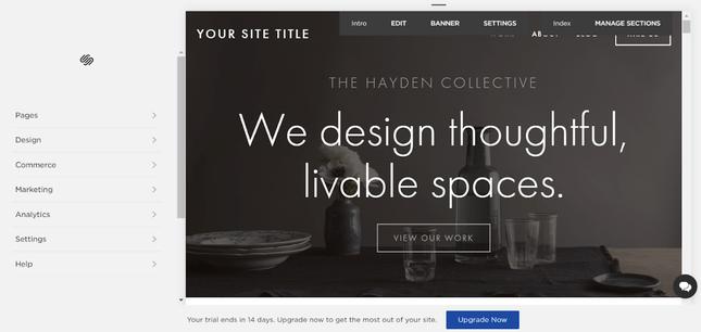 squarespace editor homepage