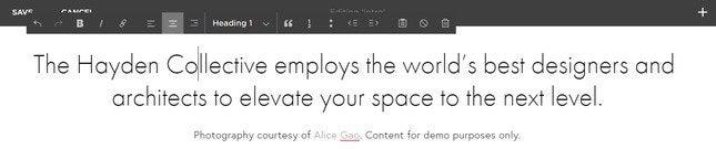 squarespace text box editor