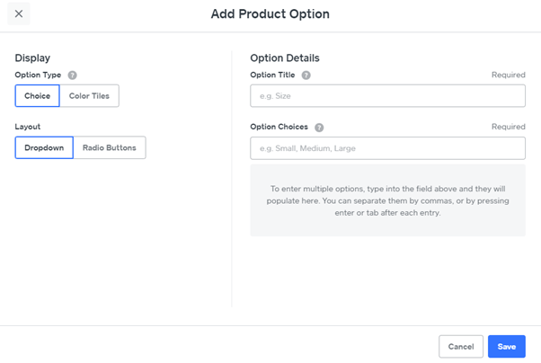 weebly add product option