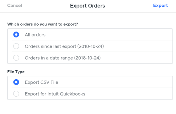 weebly export orders