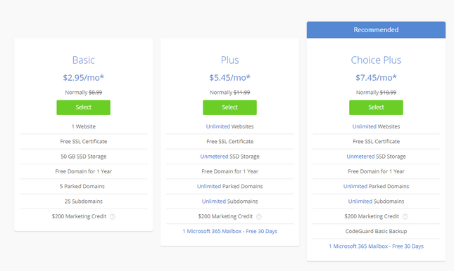 bluehost pricing shared wordpress plans
