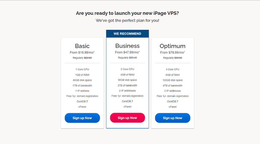 ipage vps hosting plans start at $19.99 /month