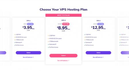 hostinger vps hosting plans start at just $3.95 /month