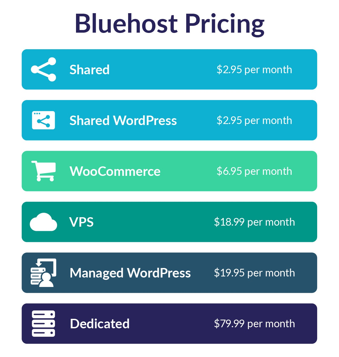 bluehost pricing breakdown infographic