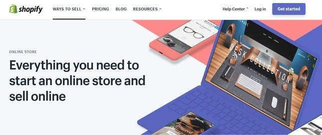 shopify online store homepage