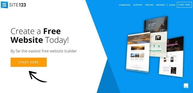 create a site123 website