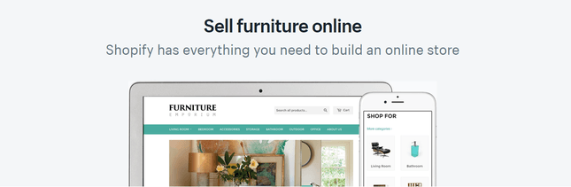 shopify sell furniture online