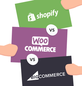 shopify vs woocommerce vs bigcommerce featured image