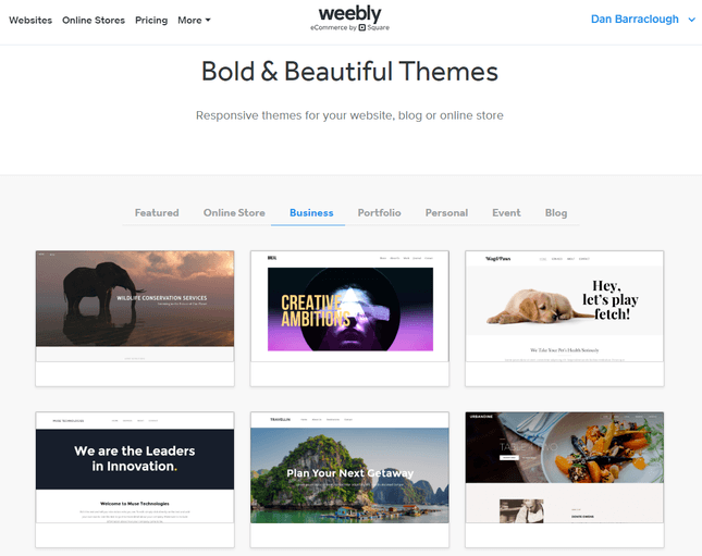 weebly website builder themes