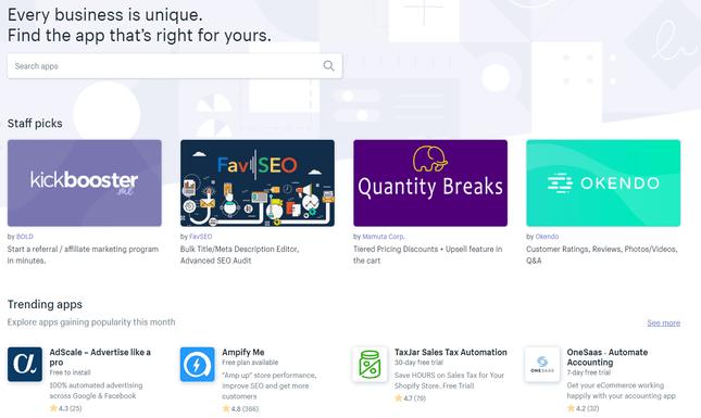 shopify app market