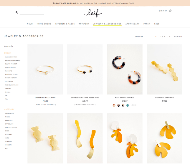 shopify example jewelry store leif