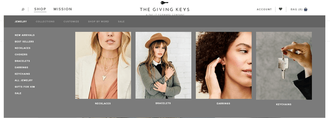 the giving keys jewelry categories