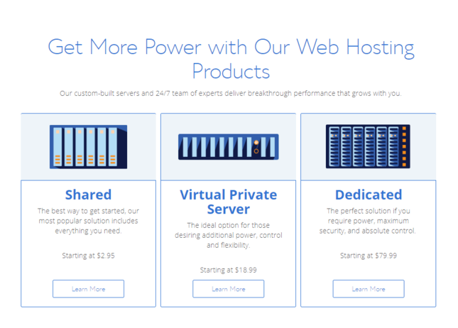 bluehost hosting optionen