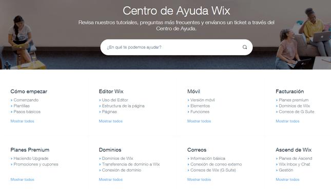 evaluacion de wix centro de ayuda