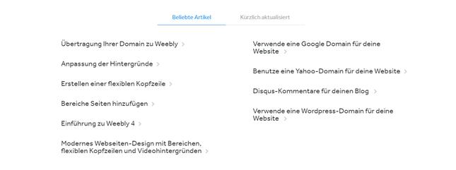 Weebly-Anleitungen