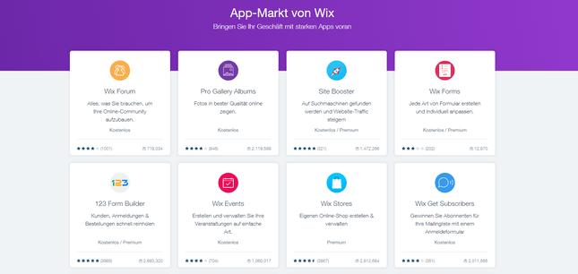 wix bewertung app markt