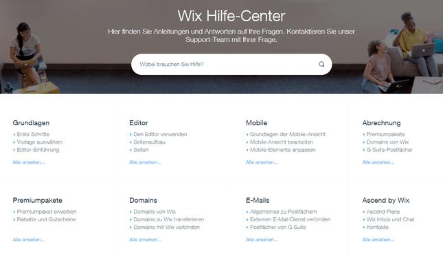 wix bewertung hilfe-center
