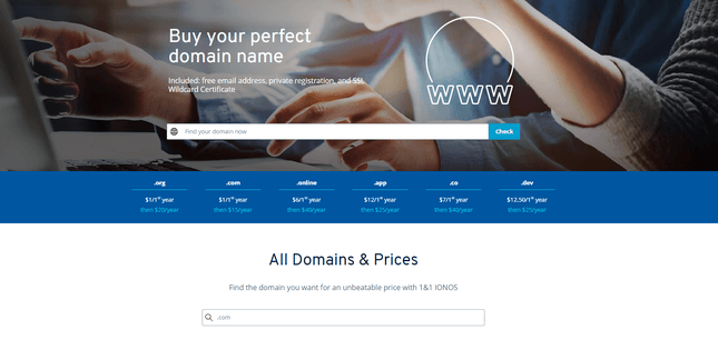 1&1 ionos domain registration