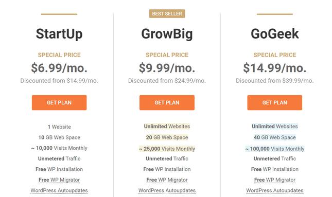 siteground wordpress pricing page