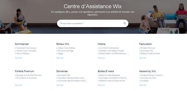wix avis sur centre d'assistance