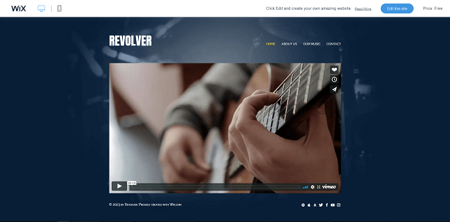 Wix's 'Band Site' template