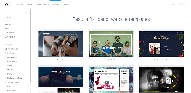 Wix's musician templates