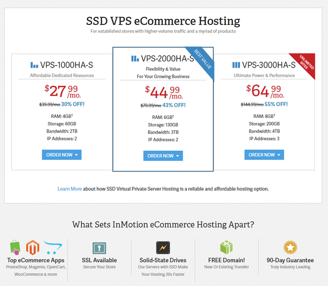 inmotion best vps ecommerce hosting