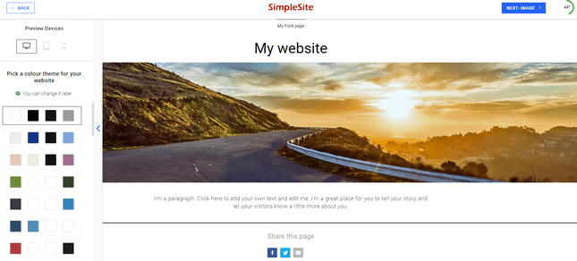 simplesite personal theme