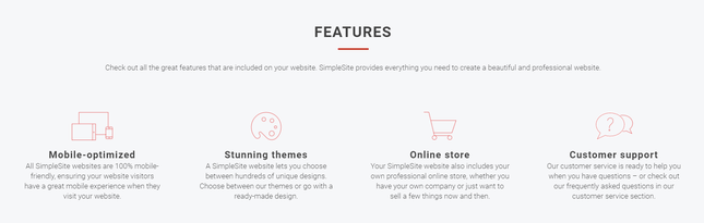 simplesite features