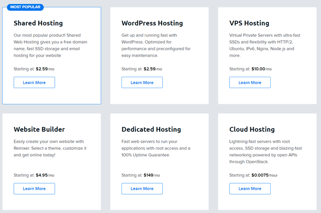 dreamhost types of hosting