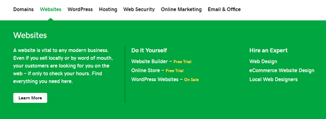 godaddy website builder menu